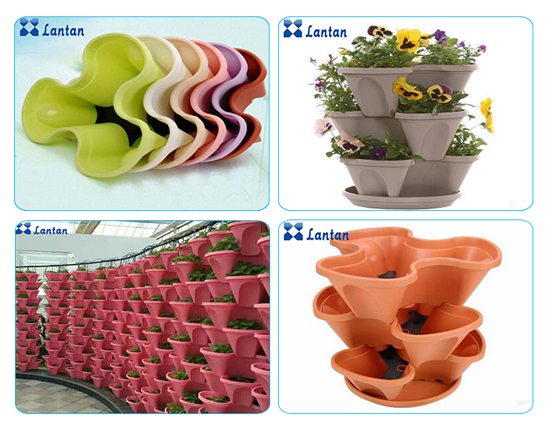 Vertical assembly polypropylene hydroponic plastic flower pot for Gardens and greenhouses