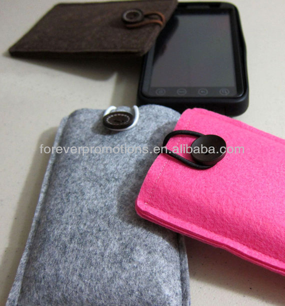 Blended Felt/Polyester Felt/Wool Felt Mobile/Cell Phone Case With String and Button
