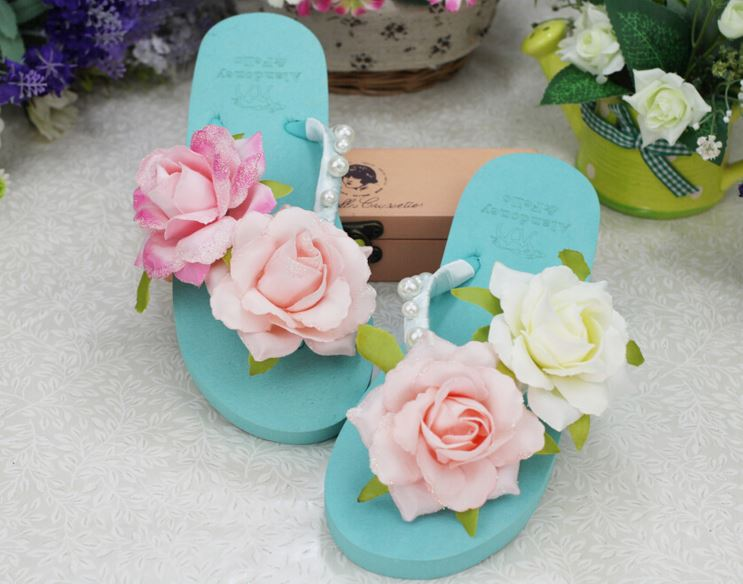Hot selling beautiful handmade flower blue pink women flat flip flop slipper