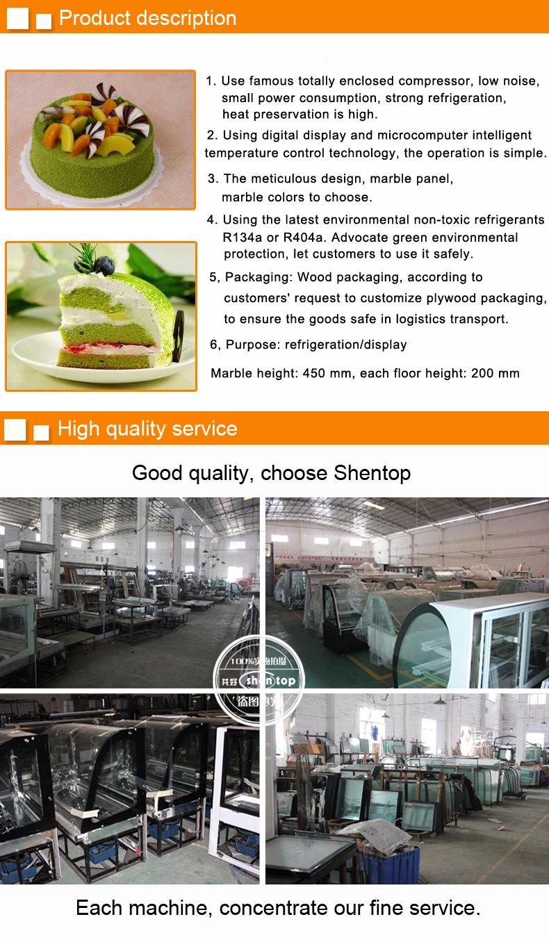 Shentop Commercail Roti Kulkas Stpa Ma Display Cake Chiller Dasar Marmer Atau Stainless Steel Kue