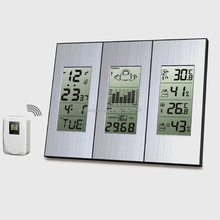 large screen LCD display wireless weather station with temperature trend clock