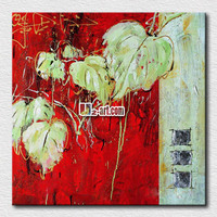 Abstract flowers oil paintings of leaves for living room wall decoration