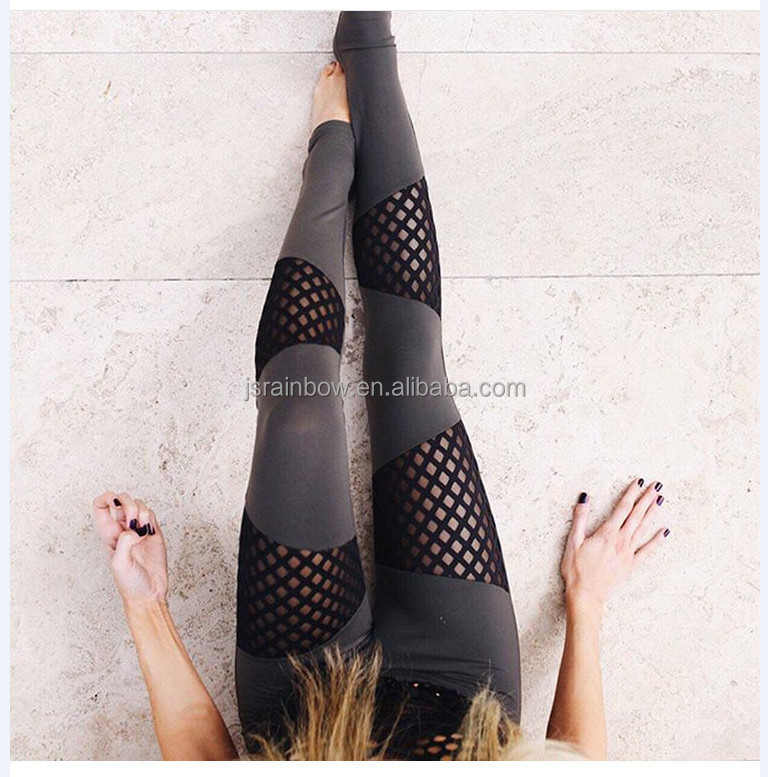 Wholesale <strong>Women</strong> Sexy Mesh Legging Splicing Hollow out Yoga Pants