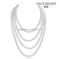 Charming Long Necklace with Multilayer/ 8-9mm sweater chain wholesale factory made in pearl China