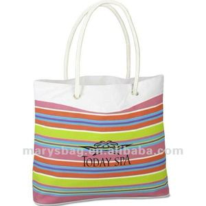 polyester beach tote expressive stripe design with eyelet and rope handles