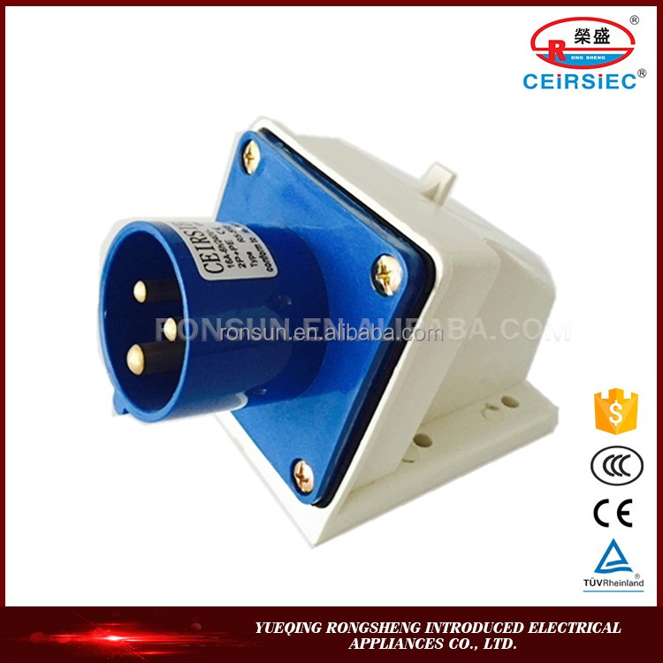 Industrial unbreakable 220V~250V 2P+E IP44 5 pins16 amp socket