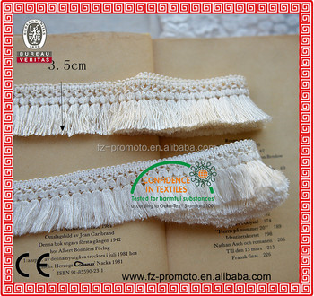 white 3.5cm width knitted cotton ladder lace trim with tassel