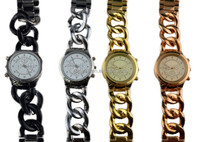Zinc alloy gold watch fake 3 eyes design cheap mk watches