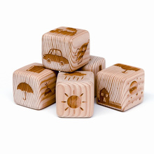 25mm high quality custom 6 sides laser engraved wooden dice