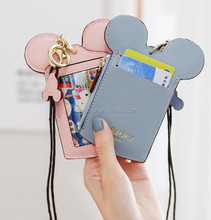 Free shipping fashion PU leather pocket id card holder card wallet with lanyard student Mickey Mouse id card holder