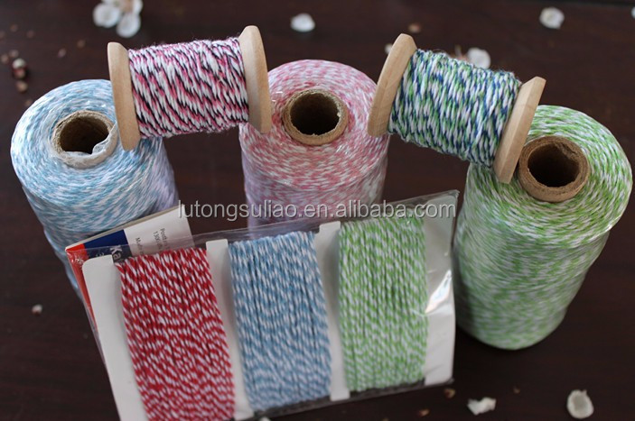 4ply*3 different colors double colored twisted baker twine in kraft paper card