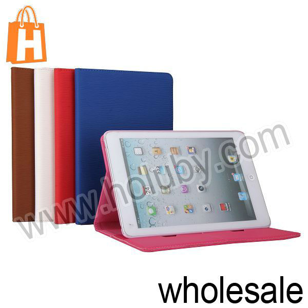 2013 Anti-Slip 7.9 Inch Slim Cover PU Leather Tablet Book Case for Apple Retina iPad Mini with Card Slots+Stand