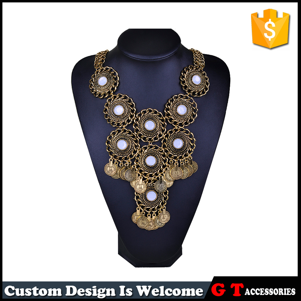 Fashion Boho Ethnic Necklace Vintage Gold silver Plated Coins Pendant Resin Insert Jewelry Statement Women Accessories