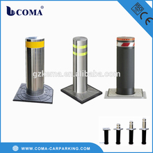 automatic rising stainless steel traffic bollard with solar power