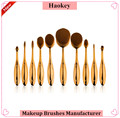 2016 2017 Alibaba hot selling product best quality synthetic hair gold handle 10pcs oval toothbrush makeup brushes
