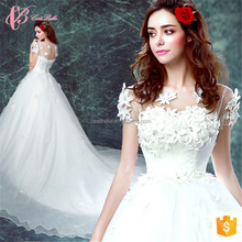 Lace short sleeve appliques ball gown patterns love forever plus size wedding dress