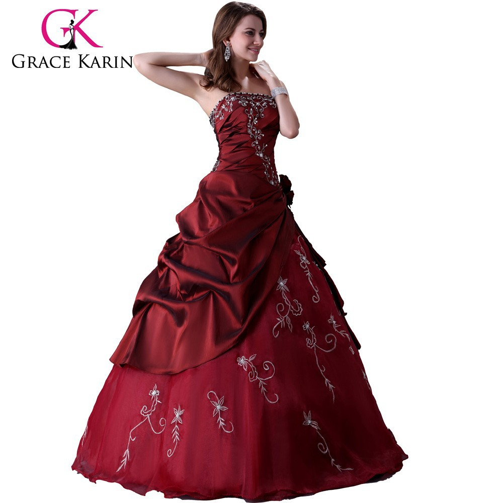 Grace karin long floor length red Prom Wedding Evening Dress Bridal Gown CL2516