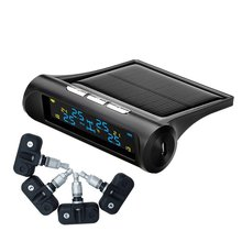 Universal Solar Powered TPMS Tire Pressure Monitoring System 4 Internal Sensor Real-time Detection Alarm