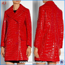 Women Clothing Fashion Red Double-Breastec Croc-Effect Faux Fur Coat Designs Women Patent-Leather Polyester Jacket