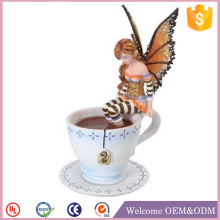 Fantasy Cute Warm Toes Fairy in Coffee Cup Figurine Statue of polyresin fairy