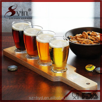 Good Quality For Bar Set User-Friendly Wooden Beer Tasting Serving Paddle Beer Flight Tasting Paddle 4 Holes
