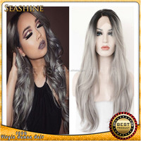 Ombre Grey Synthetic Lace Front Wig Glueless 1B/Silver Gray Heat Resistant Hair Women Wigs Black Root