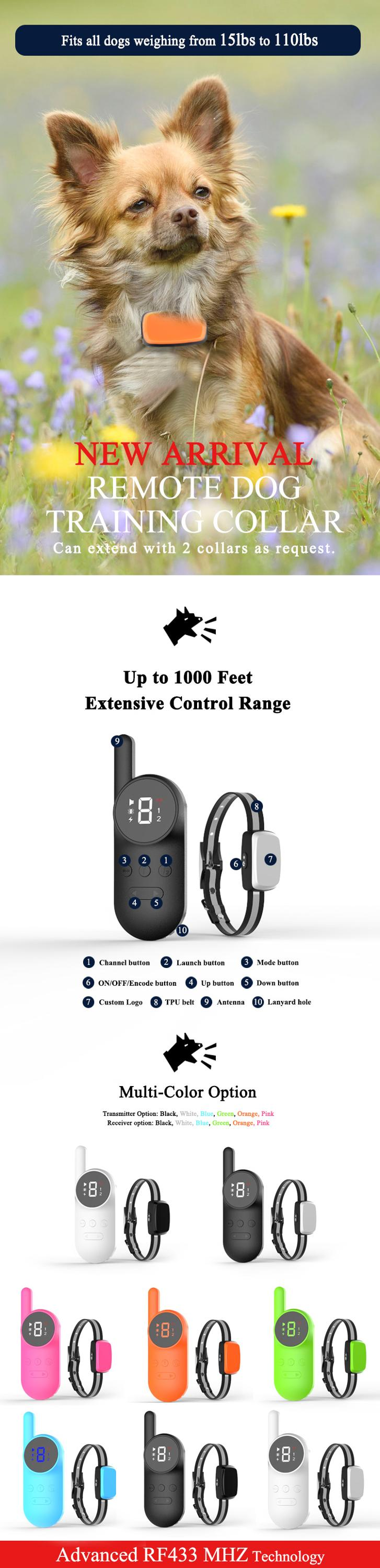 High Quality 500m Control Electric Remote Shock Training Bark Stop Dog Collar Pet