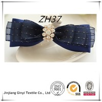 Hair Bow Vendors Blue Ribbon Bow Hair With Rhinestone Hair Bow For Girls