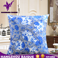 Blue and White Without Filling Decorative Rattan Sofa Cushion Covers