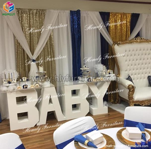 white wood party decoration tempered glass top dining <strong>table</strong> BABY LOVE wedding letter <strong>table</strong>
