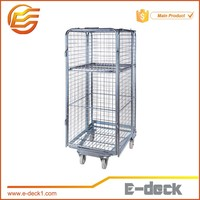 Collapsible industrial security roll container rolling cages trolleys
