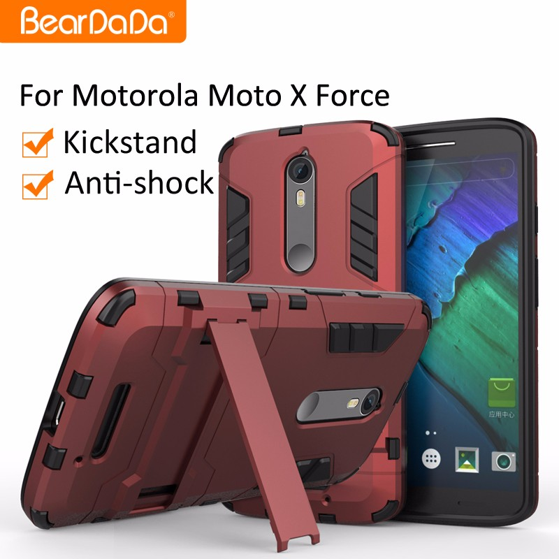 Flexible Price Anti shock kickstand TPU PC for motorola moto x force cover