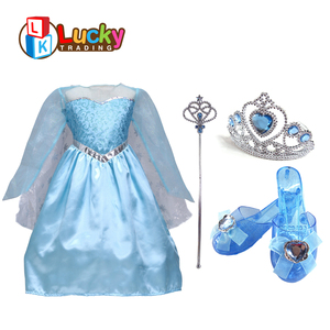cosplay costume set party favors toys girls princess elsa frozen dress with 4pcs