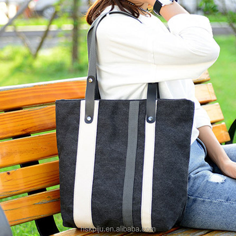 Factory OEM cheap stylish grey black tote bag purse