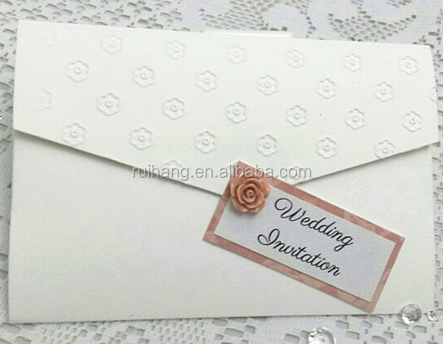 Elegant floral embossed pocket fold white wedding invitations with invitation pad for wedding