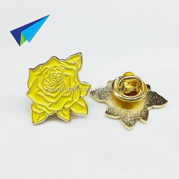 2016 yellow rose lapel pin back safety pin badge