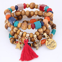 Leaf Elephant Cloth Tassel Bracelets Wooden
