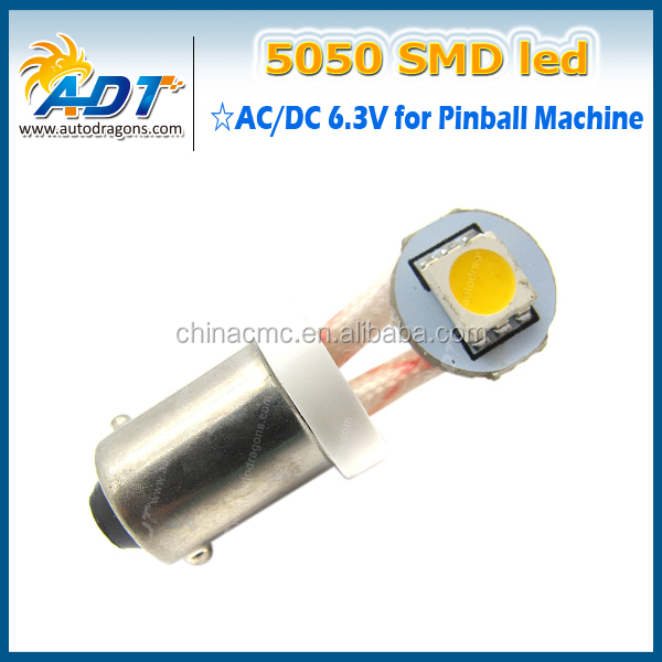 AC6.3V car LED Bulbs ,T10 194 w5w #555 1 SMD LED AC6.3V non ghosting pinball game machine flasher led