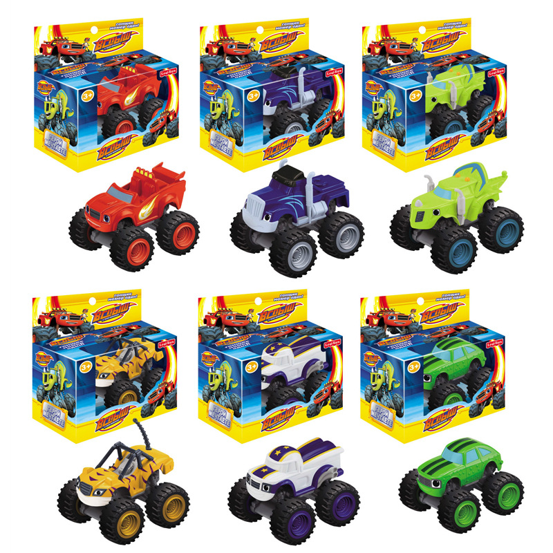 hot sale russian Blaze Monster Machines plastic toy sliding car six models mixed