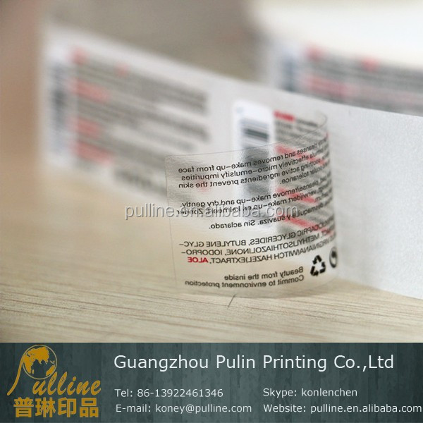 High quality custom transparent label for cosmetic