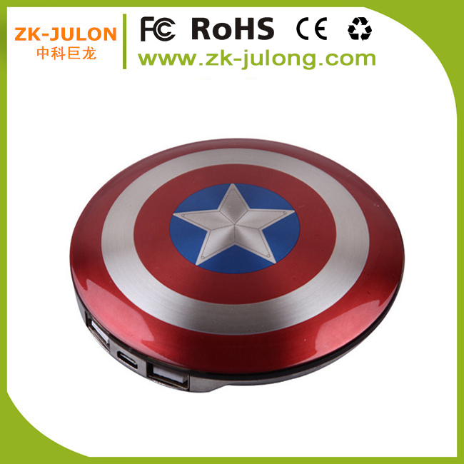 Creative design Captain America Ultra slim power bank phone charger external battery charger 6800mAh for iPhone