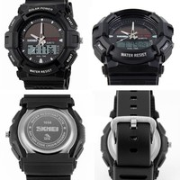 water sports product 5atm water resistant japan quartz/western digital dual movement solar power skmei watch