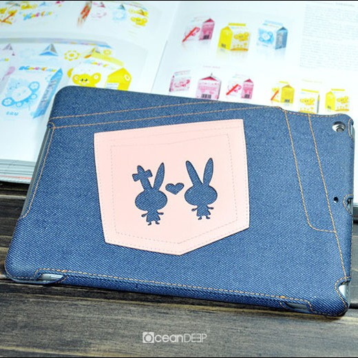 lovely design denim leather case for Apple ipad air smart cover case