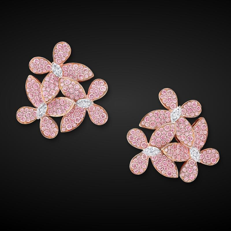 bali pearl jewelry light pink cubic zirconia stud bridal flower butterfly earrings