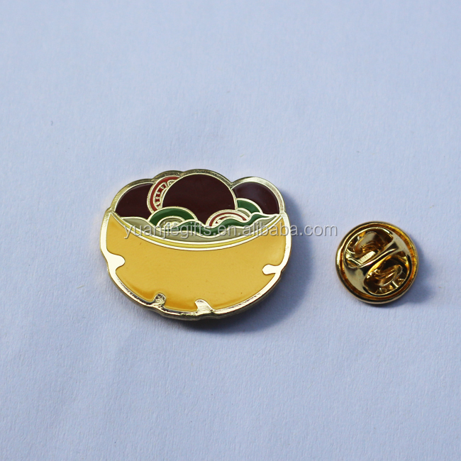 Funny design hard enamel cool metal badge pins with gold plated