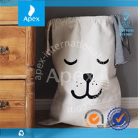 Cute large drawstring household canvas storage bag