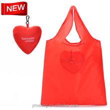 Sweet heart durable recycling foldable polyester shopping bag for promotion