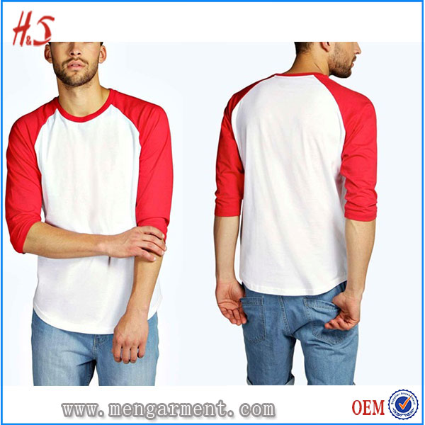 Alibaba Wholesale UK Fashion Men 3/4 Length T Shirt Design Custom Mens T Shirts