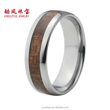 Best seller dome band titanium ring titanium wedding ring with wood inlay