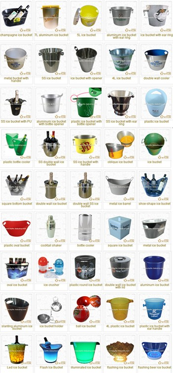 Promotional reliable aluminum ice bucket with handle